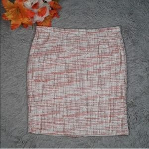 CYNTHIA ROWLEY Tweed Coral Cream Pencil Skirt